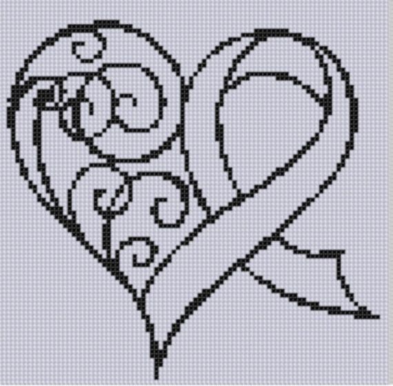 Awareness Ribbon Heart Cross Stitch Pattern by MotherBeeDesigns, $0.99