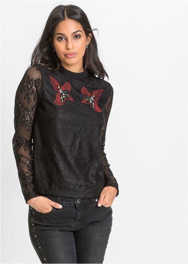 2538e0a2d052 Čipkované tričko s vyšívkou • čierna • bonprix obchod