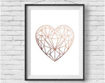Cuivre amour coeur signees imprimable Or Rose Decor cuivre impression scandinaves amour géométrique coeur affiche Or Rose Art téléchargement immédiat