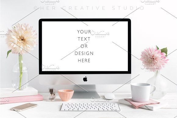 Styled Mac Desktop Mockup, Blush by Her Creative Studio on @creativemarket