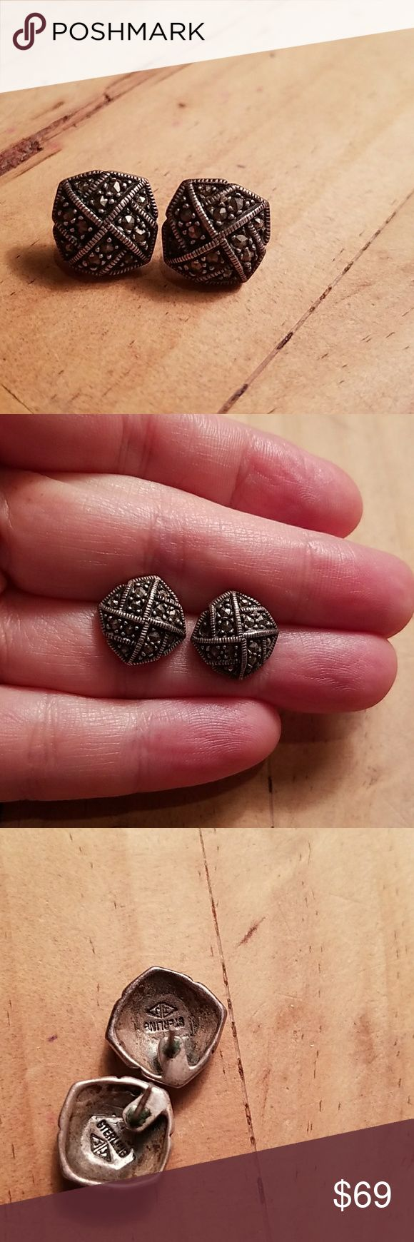 Judith Jack vintage marcasite stud earrings Judith Jack vintage marcasite stud earrings   Marked Sterling & J J in triangles  4.9 grams,  14mm x 14mm  Beautiful patina  No backs  Great condition for their age Judith Jack Jewelry Earrings