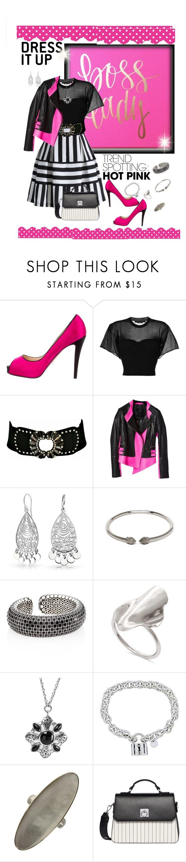 """A little edgy, a little soft"" by papillon825 ❤ liked on Polyvore featuring Christian Louboutin, Alexander Wang, Philipp Plein, Bling Jewelry, John Hardy, Lois Hill, Tiffany & Co., Fiorelli and pleatedskirt"