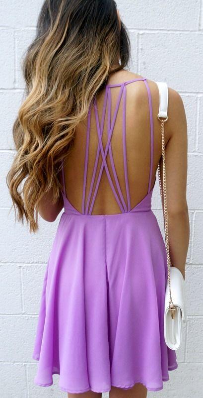 Women's fashion | Fantastic cut out purple summer dress