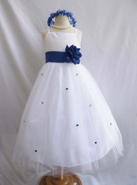 Flower Girl Dress WHITE/Blue Royal RB3 Wedding by NollaCollection, $29.99