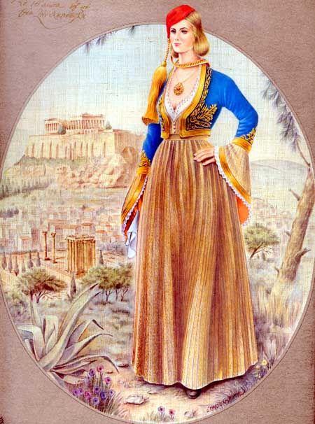 Αθηναία με την τοπικήν ενδυμασίαν της του ΙΘ αιώνα και με θέα την Ακρόπολη.