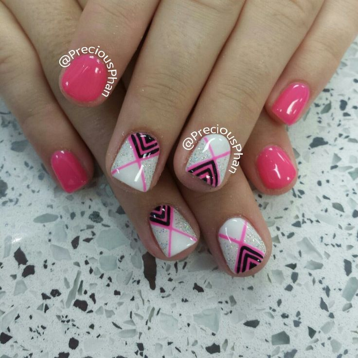 Chevron nails. Black White and pink.