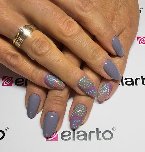 Grey rules!:) and dottes of course;) Created by: https://elarto.pl/lakierozel-kolorowy-z-brokatem/7193-elarto-lakier-hybrydowy-lakierozel-kolorowy-lacogel-hybrid-nail-color-nr-489 #grey #dotted #colorful #nails #nailart #lacogel #manicure