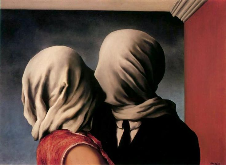 "Rene-Magritte-Os-amantes//""In heightened emotional states and deep thought, vision is usually repressed."""