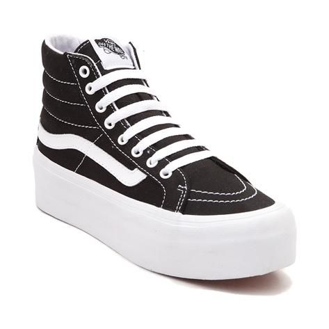 Blending timeless skate style with a fashion forward silhouette, the new Sk8 Hi Platform Skate Shoe from Vans is reaching daring new heights! The Vans Sk8 Hi Platform Skate Shoe rocks a signature, high top silhouette, constructed with durable canvas uppers, iconic leather side stripe, and platform sole with original waffle tread. <b>Only available at Journeys and SHI by Journeys!</b>  <br><br><u>Features include</u>:<br> > Sturdy canvas upper with signature leather side stripe<br> > Lace…