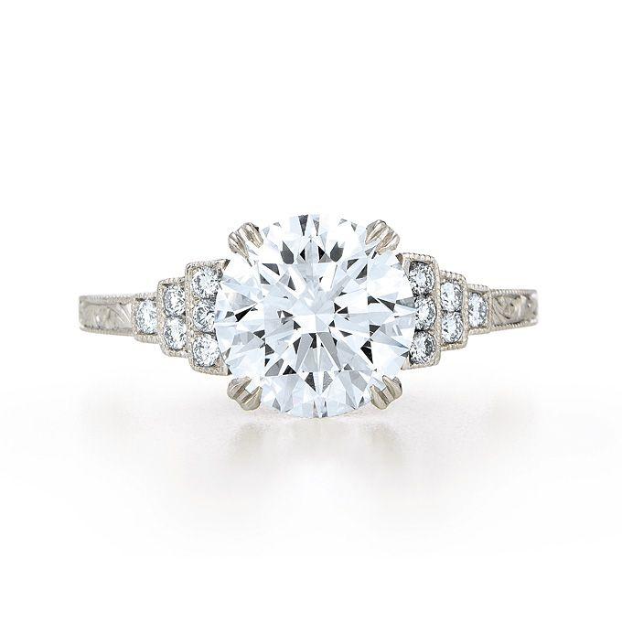 Brides.com: . Style 17822A, 2 carat round diamond center stone set in platinum, price available upon request, Kwiat