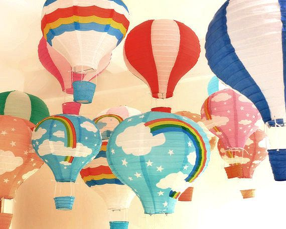 Set of 10 Hot Air Balloon Paper Lanterns Mixed Colors - DIY Wedding, Birthday, Party, Baby Shower, Nursery Decoration