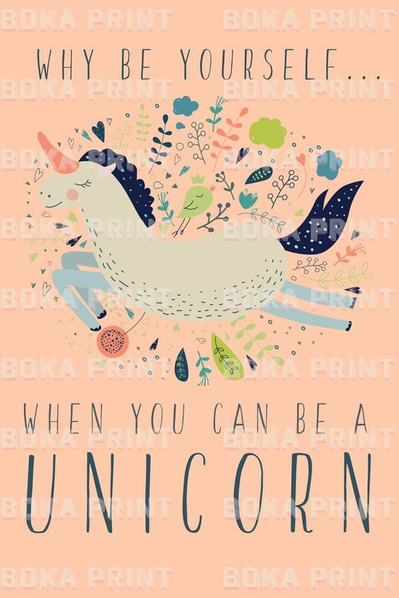 Unicorn Print For Girls Bedroom Colourful Unicorn Poster