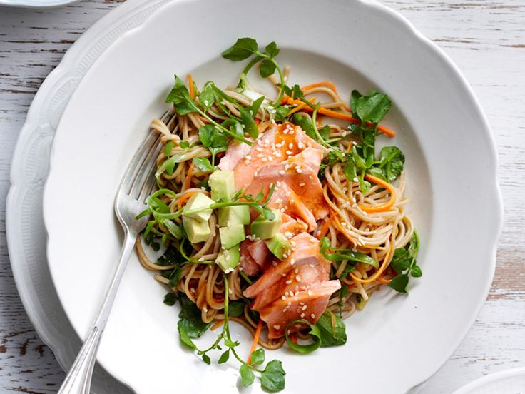 This Asian inspired Salmon dish is packed full of wonderful, fresh flavours and makes the ultimate dinner for a warm evening. Perfectly cooked fish is tossed through a punchy soba noodle and avocado salad, and drizzled with a tasty miso dressing.