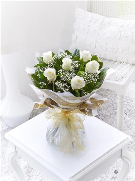 6 Stolen Kisses White Rose Bouquet - £24.99 at Jemini Flowers, Oxford (www.jemini.co.uk)