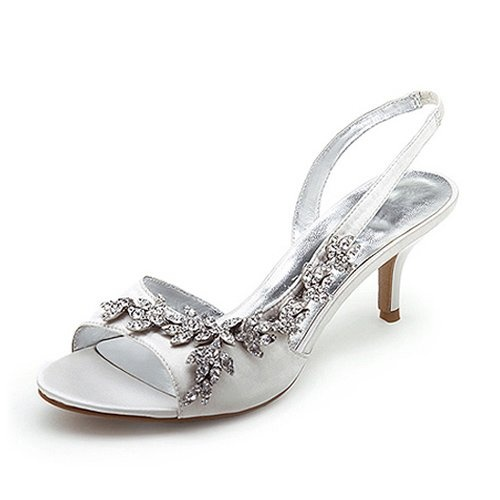 Silver Low Heel Slingback Shoes