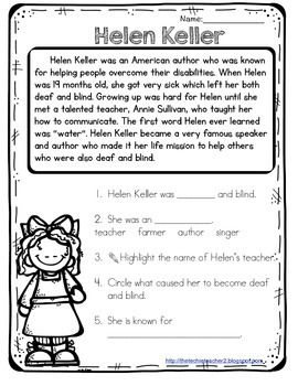 This reading passage covers the basic and most important information about Helen Keller. Five comprehension questions are included. Answer keys included!If you are in interested in more, check out my: Famous American Reading Passages Pack*****************************************************************************Follow Me so you can grab my flash freebies! (Click the star near The Techie Teacher icon)You can also follow me on:FACEBOOKMy Techie Teacher Blog