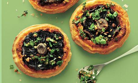 Yotam Ottolenghi's portobello mushroom tarts with pine nut and parsley salsa