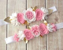 Faixinha flores em feltro