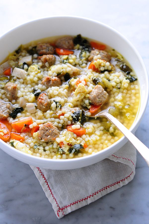 A recipe for the American classic: Italian Wedding Soup, complete with chicken, veggies and mini meatballs.