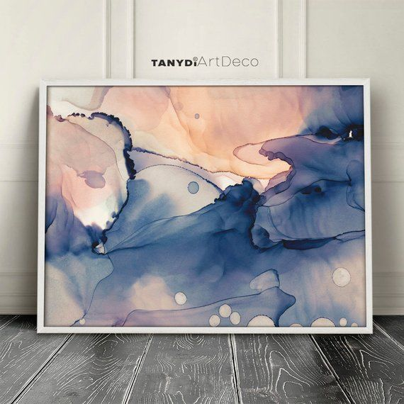 Peach Blue Cream Navy Abstract Watercolor Painting