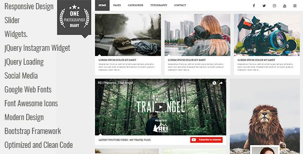 Responsive Design Sticky Sidebar Page Templates jQuery Loading Fullscreen Slider Shortcodes Page Optimized and Clean Code Social Media Google Web Fonts Font Awesome Icons Modern Design Bootstrap F...