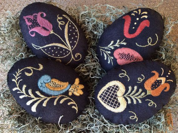 Hand Embroidered Easter Eggs /Spring Bowl Fillers/Dutch Tulip Design