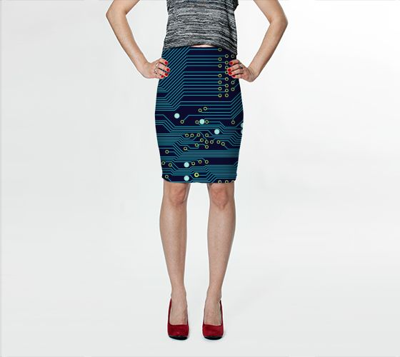 "Fitted Skirt ""Dark Circuit Board"" by Jenny Mhairi"