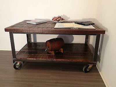 Industrial Vintage Trolley Work Table Display Coffee Table TV Stand