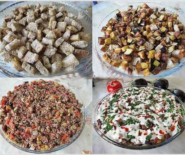 Patlıcanlı Yoğurtlu Ekmek Kebabı Tarifi