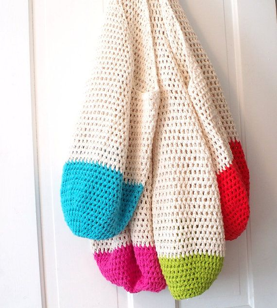 Beach Bag Crochet : Crochet Beach Bag in Sand and Red Oversize Crochet Cotton Tote Bag