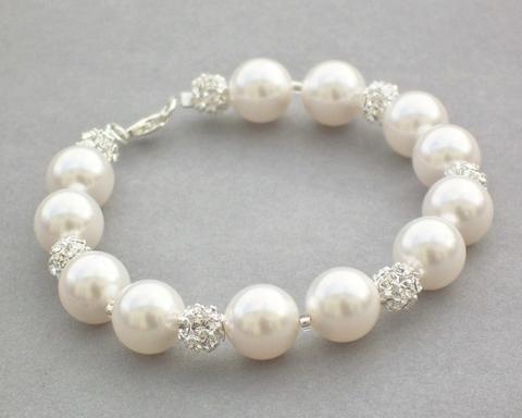 Swarovski Pearl & Crystal Encrusted Bead Bracelet, Celine