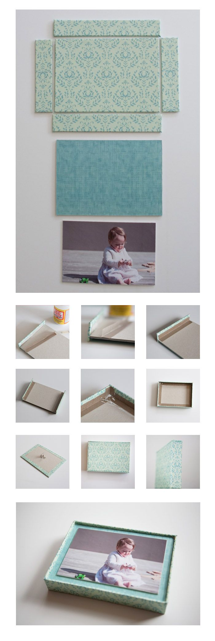 Box Frame - photography project from Love Your Pics- Difficulty: Mostly straightforward, but the measuring needs to be accurate.  Time: 2 hours plus drying time.  You'll need: A photo,  2 - 2.5mm thick craft card,  Paper to cover,  Mod Podge or strong craft glue.  This is a DIY photo frame project for an unusual and eye catching box frame.