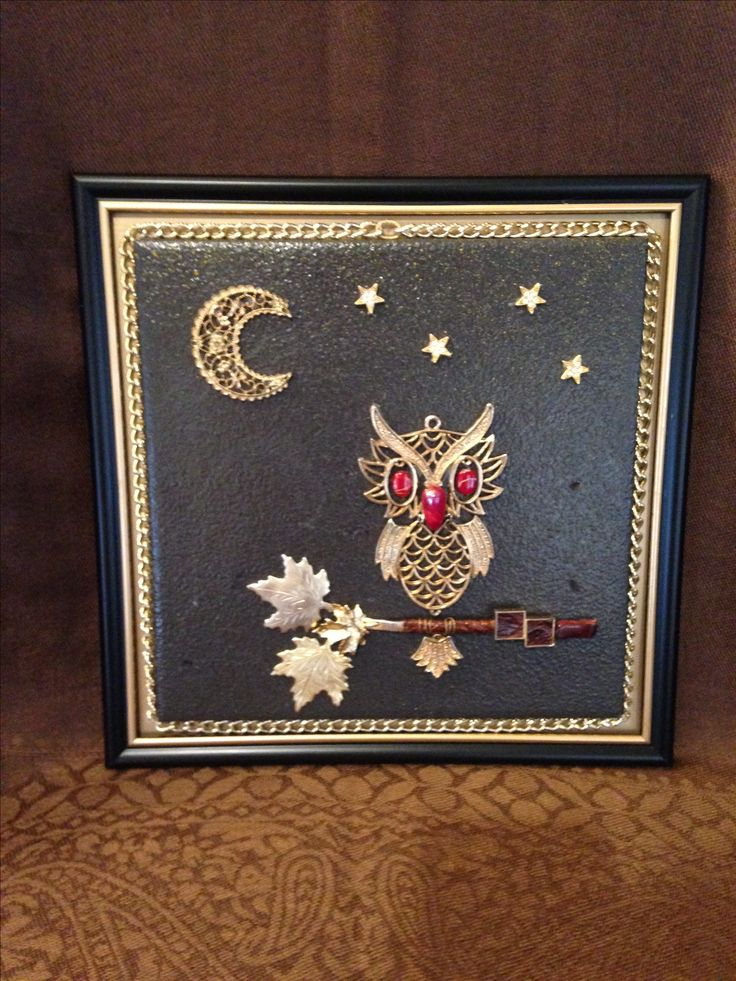 """8""""x8"""" tile jewelry art, the branch is a tie clip. The crafty artisan Judith Cary."""