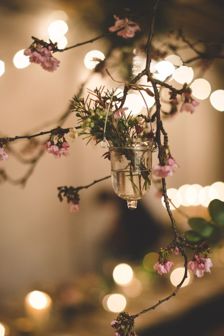 Blossom and hanging droplets, Early spring Wedding. Brixton East, London. Pic by Dave Watts Photography