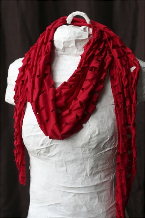 """Shaggy T-shirt Scarf- I MADE IT!  I used a t-shirt, a quilting ruler & a rotary cutter.  I used 1"""" spacing, alternating the cuts each row.  I really like the way it turned out!"""