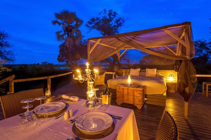 For safari-goers seeking the ultimate immersion experience without having to compromise on comfort, the Star Bed at Abu Camp in Botswana's Okavango Delta is a must. Overlooking the elephant boma, the double-storey platform includes a bathroom with shower, toilet and basin on the lower level, and a permanent queen-size bed with draped mosquito netting above, where guests are lulled to sleep by the contented rumbling and low snores of the elephants.
