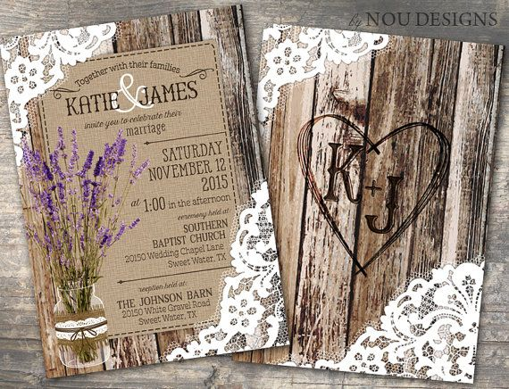 Wood Planks and Lace with Lavender Flowers in Mason Jar Rustic Bridal Shower, Wedding Invitation, or RSVP Card- Printable File
