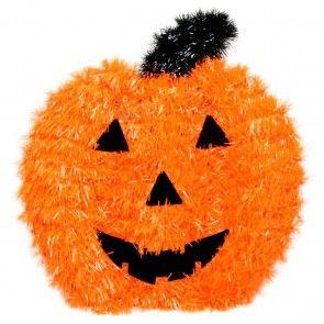Haunted House Hanging Halloween Wall Plaque Tinsel Decoration ~ Pumpkin
