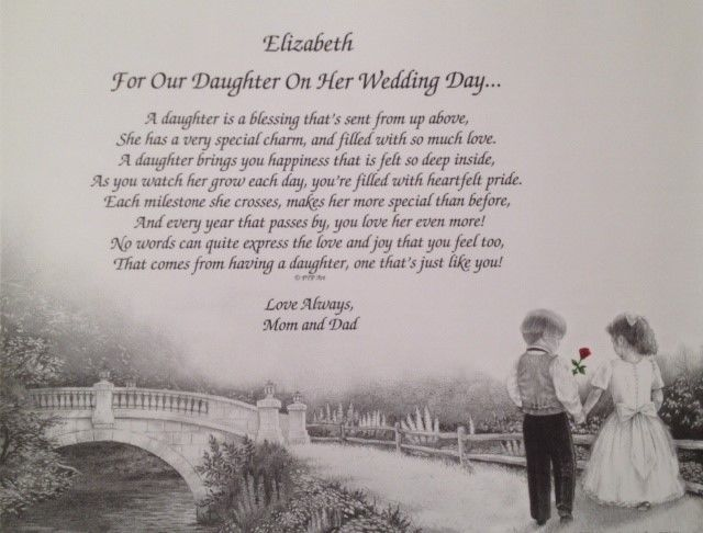 Gift For Daughter On Her Wedding Day From Father : ... DAUGHTER ON HER WEDDING DAY PERSONALIZED POEM GIFT FROM MOM and DAD