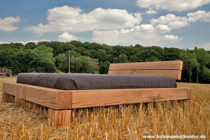 Bett aus Balken. Eiche und Kernbuche. Einladend und eindrucksvoll.