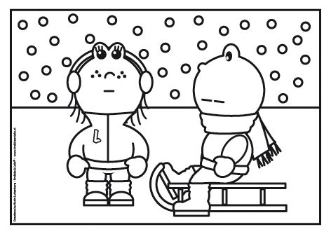 kleurplaten winterdieren sneeuw