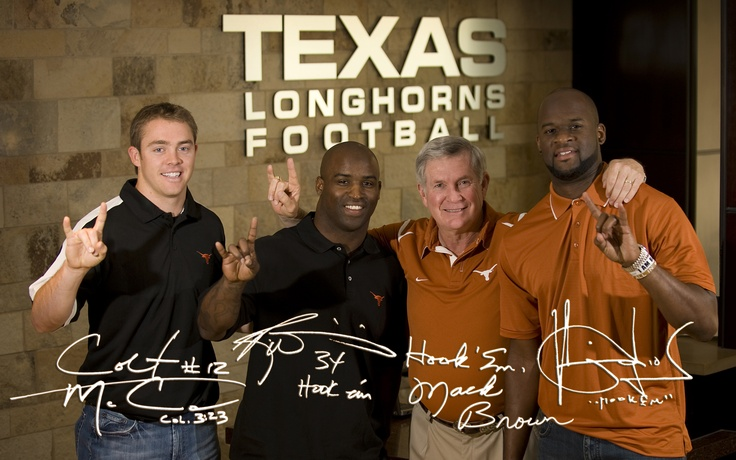 Hook 'em!  Colt McCoy,  Ricky Williams, Coach Brown, Vince Young