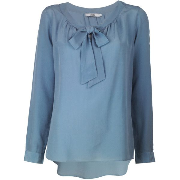 0039 Italy Blue Silk Linette Top ($190) found on Polyvore