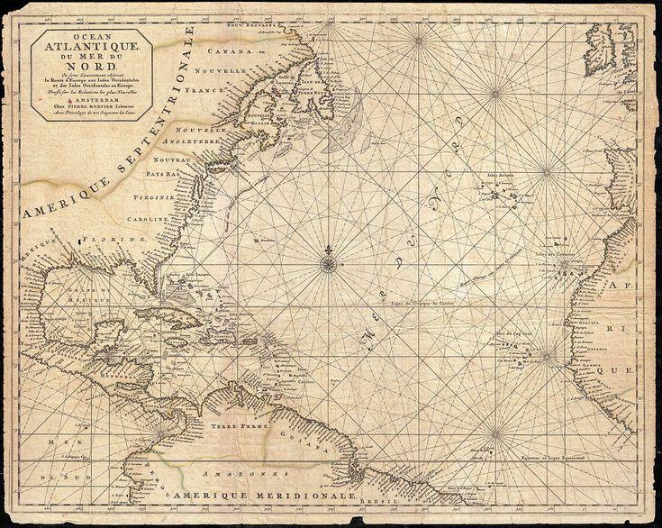 1683 Mortier mappa del Nord America, nelle Indie Occidentali, e l'Oceano Atlantico - geographicus - Atlantique-Mortier-1693.jpg