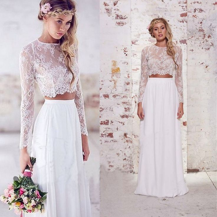 White Two Piece Lace Wedding Dress Jewel Long Sleeve Satin