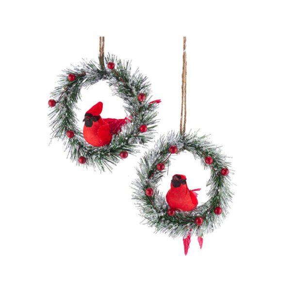 Kurt Adler Iced Pine Wreath With Cardinal Ornaments 2 Assorted Cardinal Ornaments Holiday Season Christmas Ornaments
