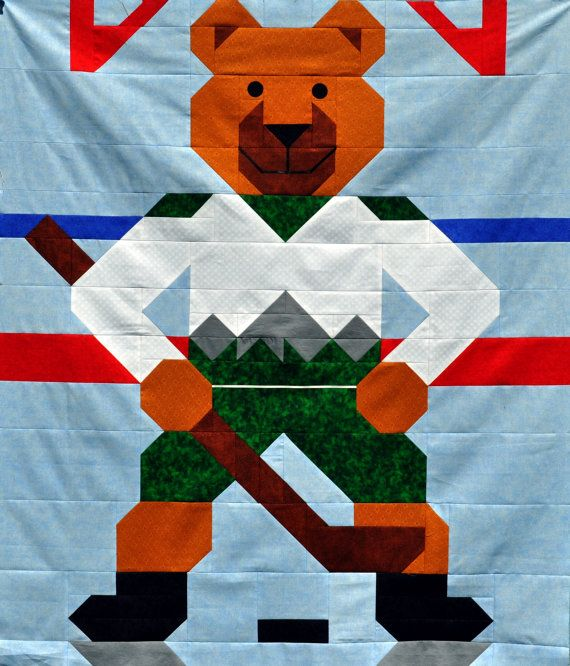 23 best Hockey quilts images on Pinterest | Quilt block patterns ... : hockey quilt patterns - Adamdwight.com