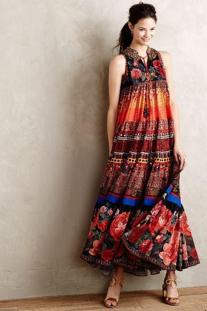 Anthropologie's, Enak Tiered Maxi, Dress.