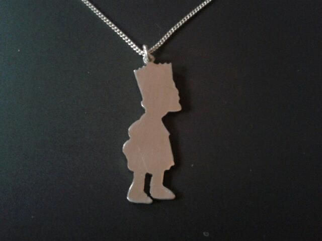 sterling silver bart simpson profile pendant 25mm x 20mm, £14.99