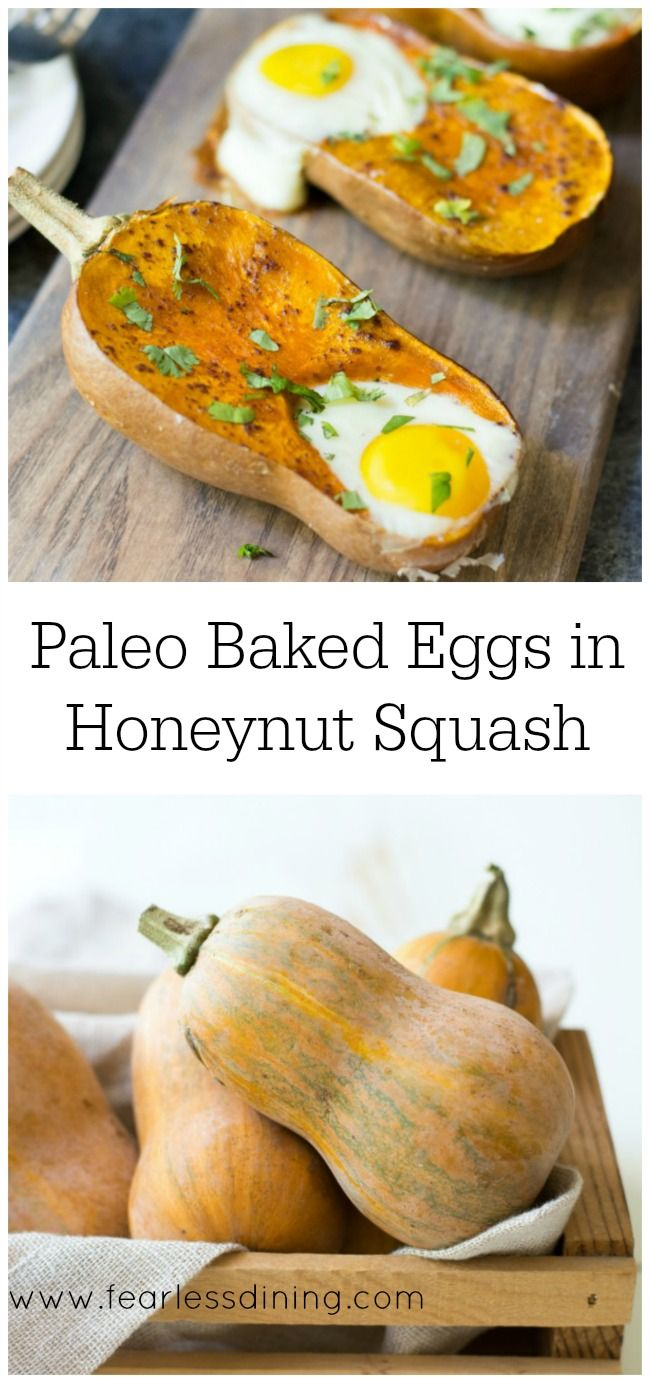 Easy Paleo Baked Eggs in Honeynut Squash What to make with honeynut squash. Easy paleo breakfast recipe. Whole 30. Easy egg recipe. Winter squash recipe. Gluten free egg breakfast.via @fearlessdining